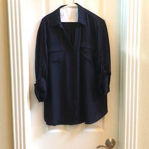 Navy button up dress shirt tunic - sz XL